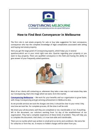 How to Find Best Conveyancer in Melbourne