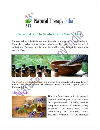 Essential Oil The Products With Several Uses