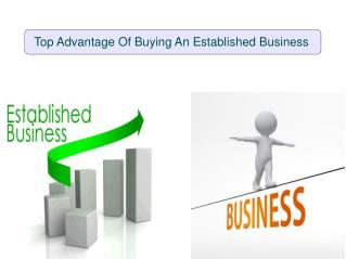 Top Advantage Of Buying An Established Business