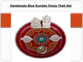 Handmade Blue Kundan Pooja Thali Set