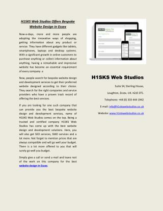 H1SKS Web Studios Offers Bespoke Website Design in Essex