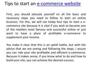 Tips to start an e-commerce website