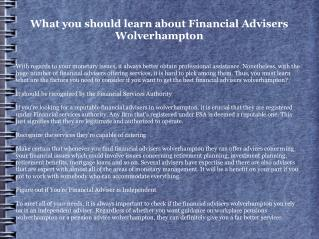 Financial Advisers Wolverhampton: What to Search for in them