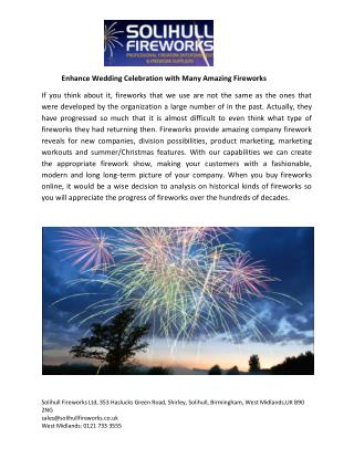 Enhance Wedding Celebration with Many Amazing Fireworks