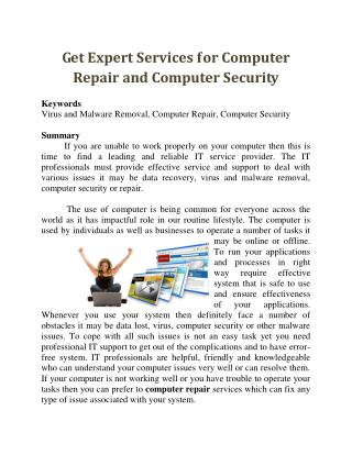 Get Expert Services for Computer Repair and Computer Security