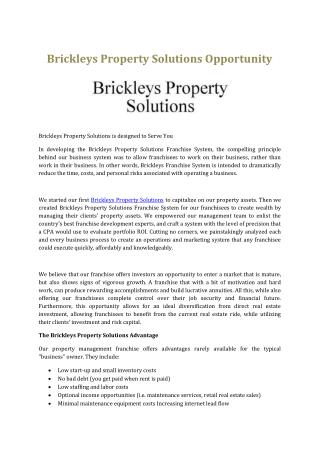 Brickleys Property Solutions Opportunity