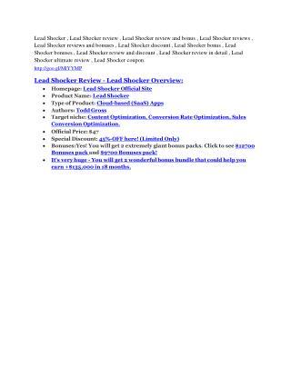 Lead Shocker review & Lead Shocker $22,600 bonus-discount