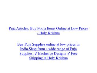 Puja Articles: Buy Pooja Items Online at Low Prices  - Holy Krishna