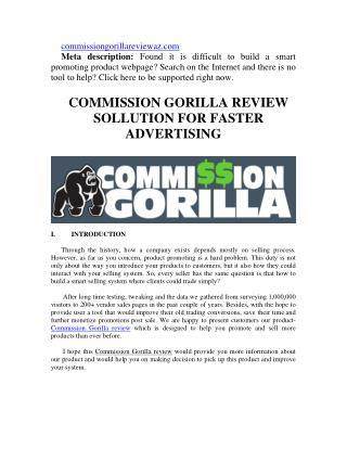 Commission Gorilla Review and Biggest Bonus