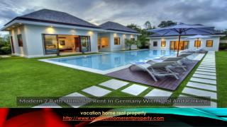 Modern 2 bath house for rent in Germany with pool and parking