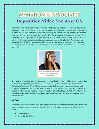 Deposition Video San Jose CA