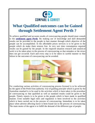 What Qualified outcomes can be Gained through Settlement Agent Perth ?