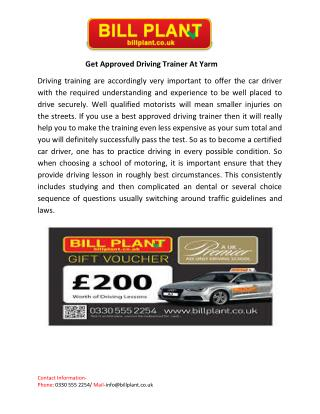 Get Approved Driving Trainer At Yarm