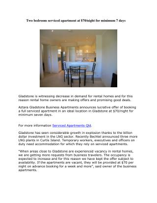Two bedroom serviced apartment at $70/night for minimum 7 days