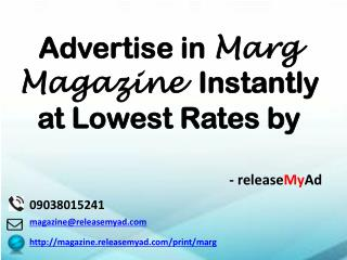 Advertising in Marg Magazine through releaseMyAd.
