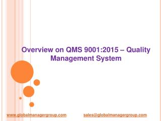 Overview on QMS 9001:2015 � Quality Management System