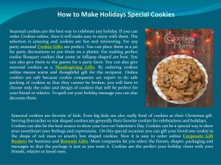 How to Make Holidays Special Cookies