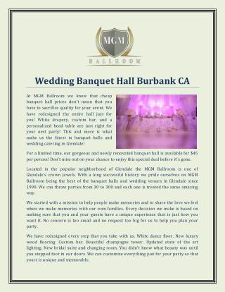 Wedding Banquet Hall Burbank CA