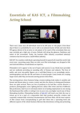 Essentials of KAS ICT, a Filmmaking Acting School