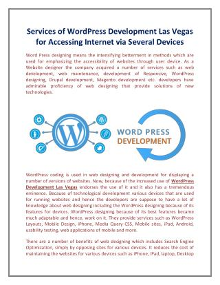 Services of WordPress Development Las Vegas for Accessing Internet via Several Devices