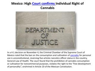 Mexico: High Court confirms Individual Right of Cannabis