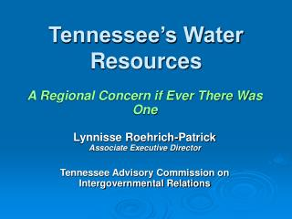Tennessee s Water Resources