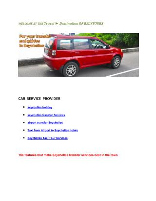 Taxi from Airport to airport transfer seychelles holiday hotels