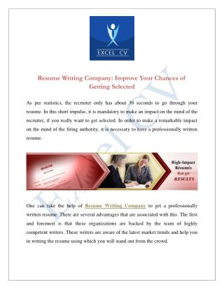 Resume Writing Company Improve Your Chances of Getting Selected