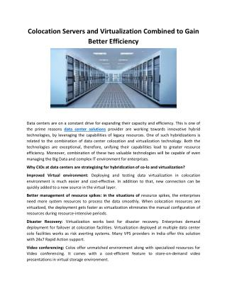Colocation Servers and Virtualization Combined to Gain Better Efficiency