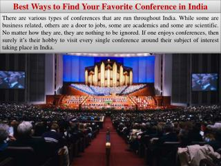 Best Ways to Find Your Favorite Conference in India
