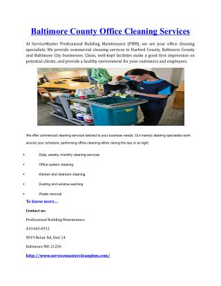 Baltimore County Office Cleaning Services