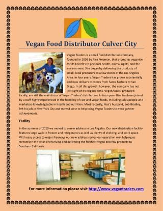 Vegan Food Distributor Culver City