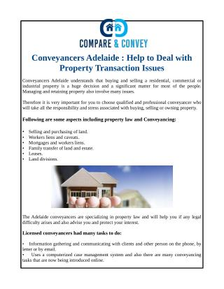Conveyancers Adelaide : Help to Deal with Property Transaction Issues