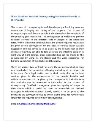 What Excellent Services Conveyancing Melbourne Provide to the People?