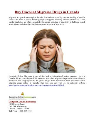Buy Discount Migraine Drugs in Canada