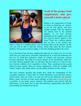 CrossFit Recovery provides good power and stamina