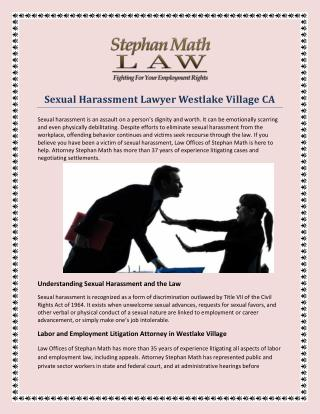 Sexual Harassment Lawyer Westlake Village CA