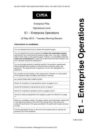 Cima E1 Test Questions