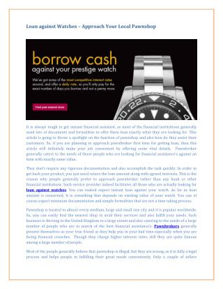 Loan Against Watches � Approach Your Local Pawnshop
