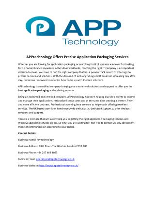 APPtechnology Offers Precise Application Packaging Services