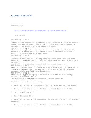 ACC 400 Week 4 LTA Interpreting Financial Statements Report