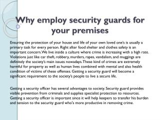 Why employ security guards for your premises