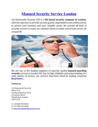 Manned Security Service London