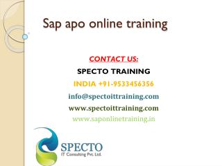 sap apo training in usa