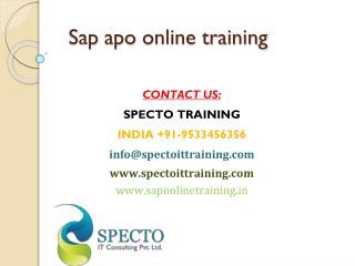 sap apo training in usa