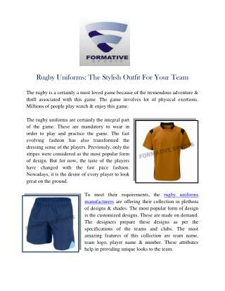 Rugby Uniforms The Stylish Outfit For Your Team