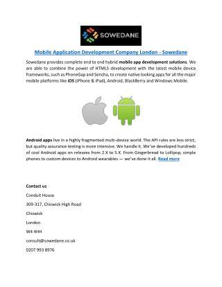 Mobile Application Development Company London - Sowedane