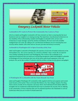 Emergency Locksmith Motor Vehicles