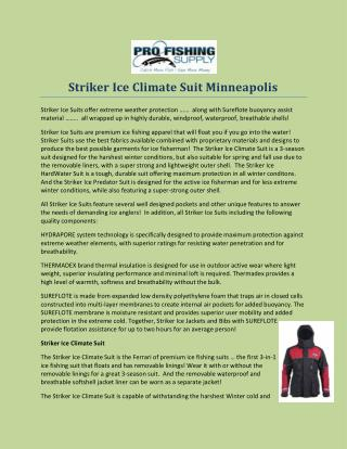 Striker Ice Climate Suit Minneapolis