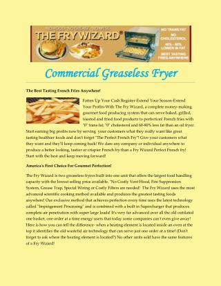 Commercial Greaseless Fryer